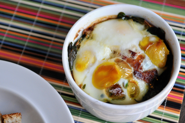 Baked Eggs with Bacon and Spinach | Heather's Dish