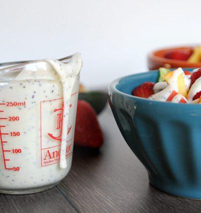 Summer Peachberry Salad with Creamy Yogurt Poppyseed Dressing