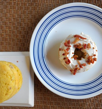 Savory Bacon & Green Onion Donuts with Goat Cheese Frosting