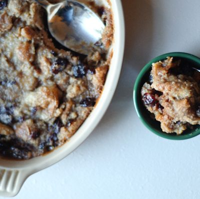 Eggless Brown Sugar Cranberry Bread Pudding