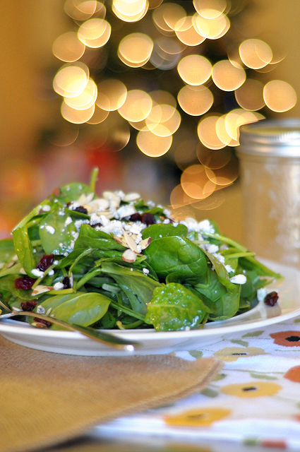 Spinach Salad with Gorgonzola, Cranberries, Almonds and Honey Garlic Vinaigrette from @HeathersDish