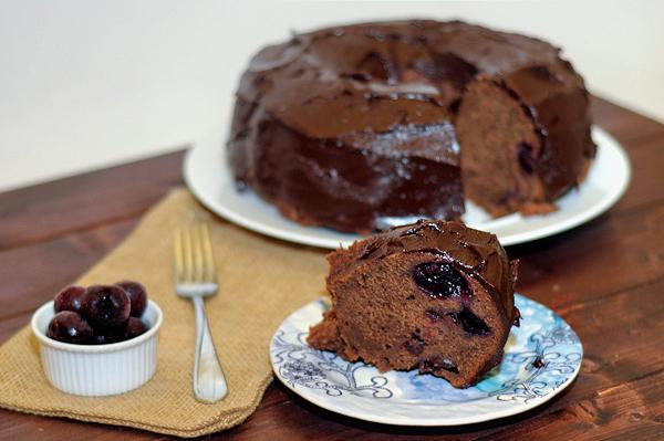 Chocolate covered cherry pound cake with ganache