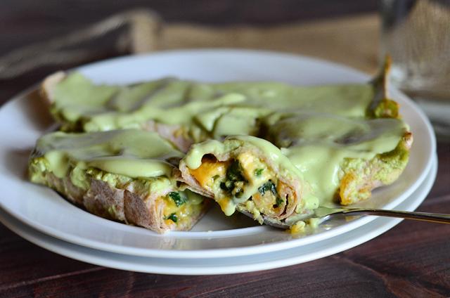 Chicken, Zucchini and Spinach Enchiladas with Skinny Avocado Cream ...