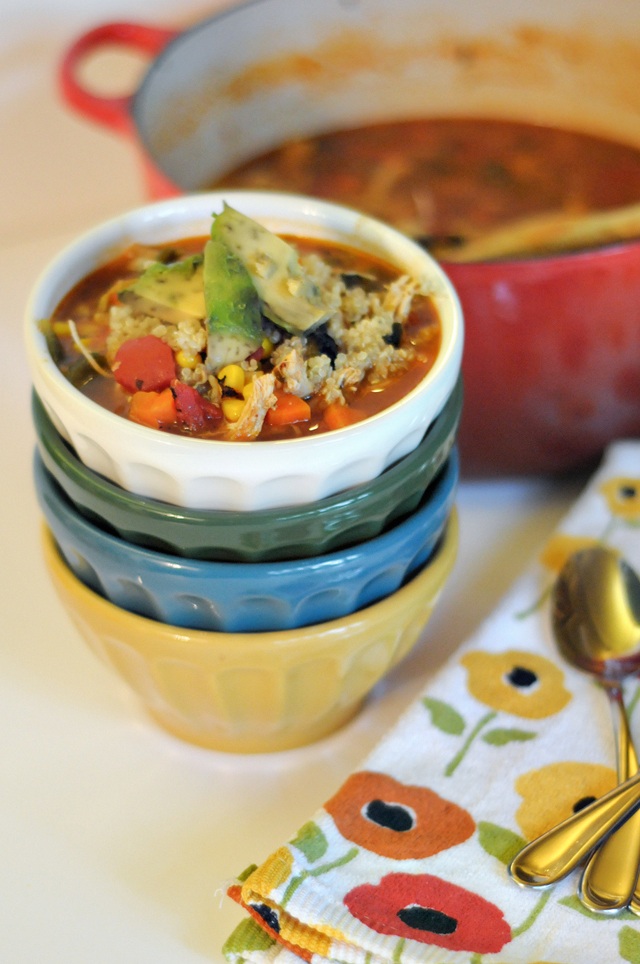 Roasted Poblano, Chicken and Quinoa Soup | Heather's Dish
