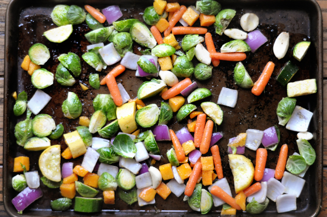 Hearty Roasted Winter Vegetable Salad with Honey Ginger Dressing || HeathersDish.com
