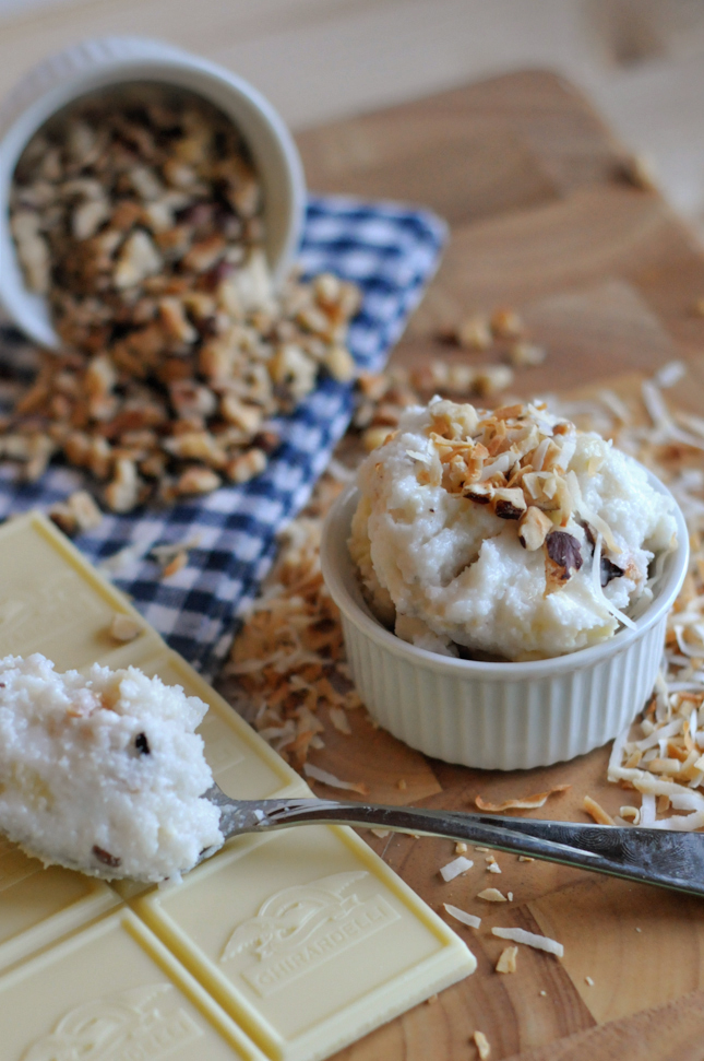 White Chocolate Hazelnut Chunk Coconut Butter || HeathersDish.com