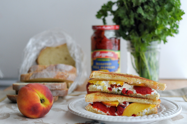 Grilled Herbed Goat Cheese, Fresh Peach + Roasted Red Pepper Sandwich ...
