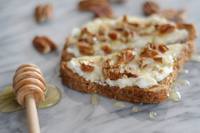 Toast with Ricotta, Honey and Toasted Pecans | Heather's Dish