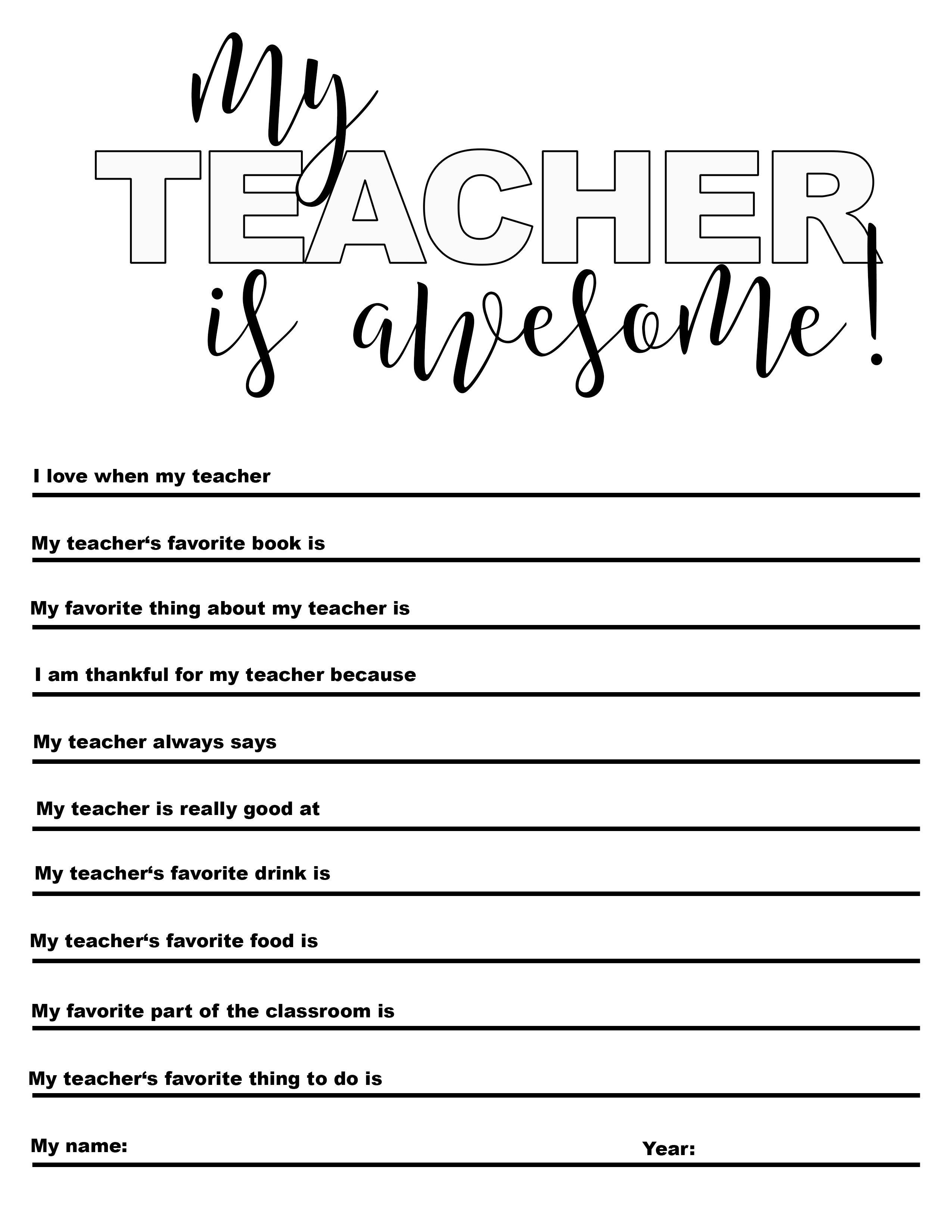photo about Teacher Favorite Things Printable called Absolutely free \